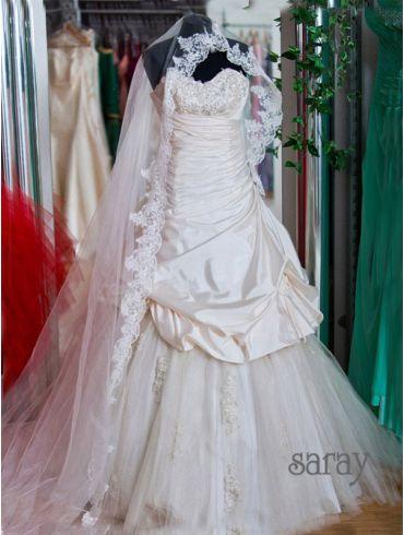 Brautkleider A-Linie  Elfenbein Taft, Modell Alexis