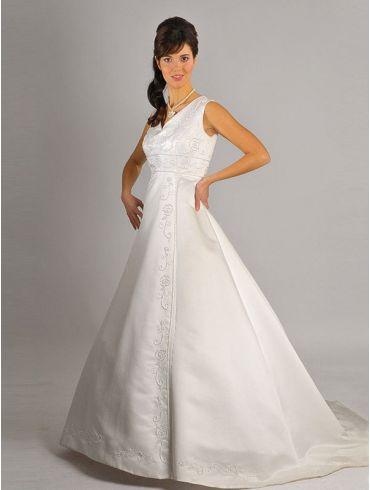 Brautkleider Creme Satin schlicht A-Linie Modell Emelda