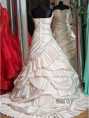 Brautkleider Empire-Stil Taft Creme Modell Fiona