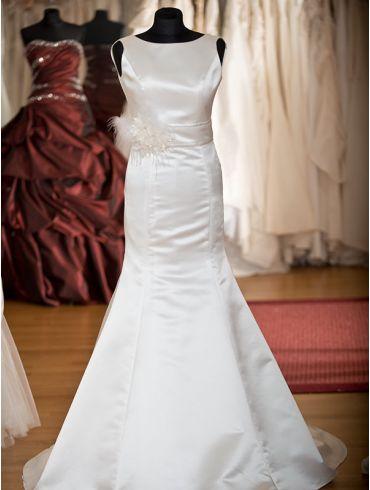 Brautkleider Meerjungfrauen-Stil Satin Creme Modell Janna