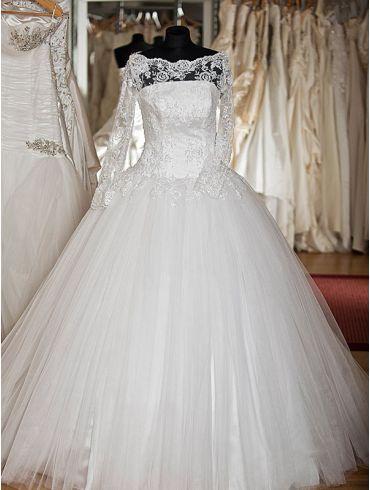 Brautkleider Elfenbein A -Linie Spitze Modell Leonora