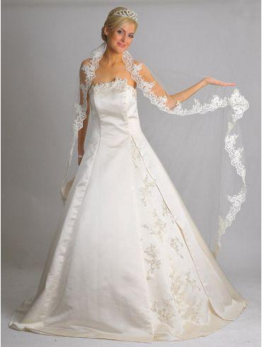 Brautkleider A-Linie aus Creme Satin Modell Marga