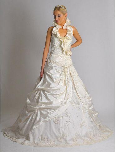 Brautkleider A-Linie zweiteilig Creme Taft Modell Mirella