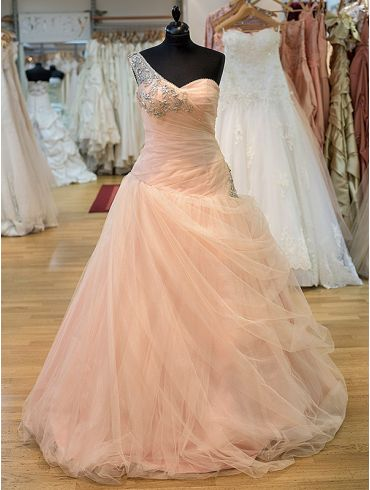 Farbiges Brautkleid aus Rosé Tüll Modell Tamara