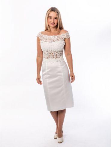 Standesamtkleid kurz Spitze Creme Modell Marry