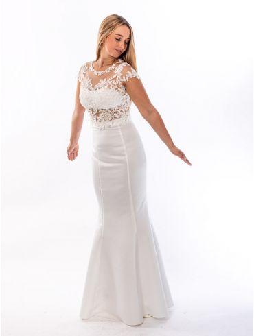 Standesamtkleid Meerjungfrau, Creme, Spitze Modell Selina