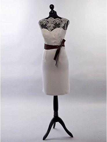 Standesamtkleid Spitze Elfenbein kurz Modell Sina