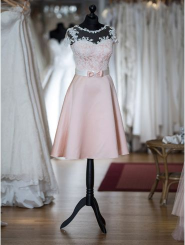 Standesamtkleid Kurz Rosa Spitze Modell Rosalie