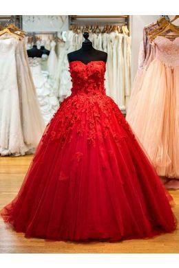Brautkleid Rot A-Linie- Modell Asena